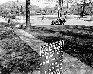 The campus of Kent State University is deserted as remaining members of the Ohio National Guard continue to patrol the school grounds in Kent, Ohio, Thursday, May 4, 1970. Guardsmen killed four students and injured nine in the clash with student demonstrators against the Vietnam War. (AP Photo)