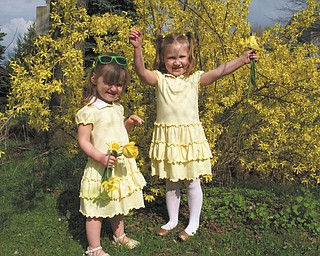 Natalie and Bridget, daughters of Nick and Patty DiVencenzo of Struthers, were a perfect match to the springtime blossoms of forsythia, daffodils and tulips. They posed for this picture following an Easter egg hunt at the home of their cousins, Mike and Laurie Fox of Lowellville.