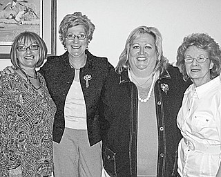 The Junior Group of Goodwill met April 12 at Drake's Landing in Canfield, where officers who will head the organization in 2010-12 were officially installed. Assuming their duties were, above from left, Sue Miller, vice president; Kathy Gerberry, treasurer; Tina Kinnick, president; and Patty Suchora, secretary. Founded in 1991 by six women, the Junior Group of Goodwill has a membership of more than 50 volunteers who raise funds and serve as ambassadors in the community for Youngstown Area Goodwill Industries.