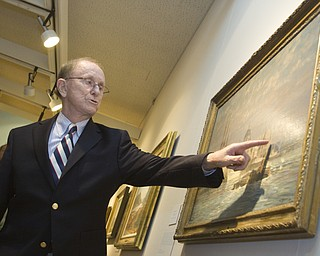 LISA-ANN ISHIHARA | THE VINDICATOR ..Artist John Stobart talks about his oil on canvas painting King's Reach circa 1955 during his exhibit, The Grandeur of America's Age of Sail, to attendants at The Butler Institute of American Art, Sunday, May 2, 2010