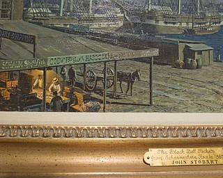 LISA-ANN ISHIHARA | THE VINDICATOR ..Artist John Stobart's oil on canvas painting NEW YORK, THE BLACK BALL PACKETS FROM SCHERMERHORN ROW IN 1865, circa 1993, is displayed in his exhibit, The Grandeur of America's Age of Sail at The Butler Institute of American Art, Sunday, May 2, 2010