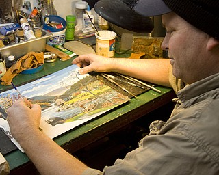 LISA-ANN ISHIHARA | THE VINDICATOR Mohawk Valley Fine Arts located on the northwest corner of state Route 224 and Route 534 in Berlin Center has been the personal studio of artist Joseph Donnelly for 14 years. Here he is painting one of his latest projects.