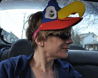 Karen Fox of Youngstown is sporting a hat she found in her daughter's car.