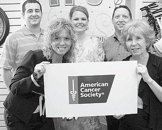 A Pink Ribbon Social will be sponsored by the American Cancer Society on Thursday at Stambaugh Auditorium to draw attention to the importance of breast cancer awareness. Fun, food, music and a baking competition will be featured during the evening. Encouraging support for the ACS event are above, from left in front, Jacqueline Martin, chairwoman, and Ronnie Tomko, and in back, Tommy Ivany, LaDawn Whitman and Jeff Mahood.