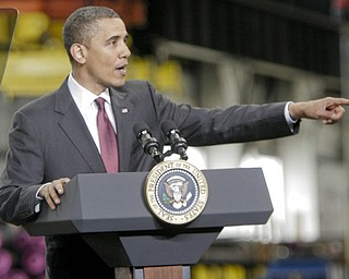 William D Lewis| The Vindicator  President Obama speaks at V&M Star Steel in Youngsotwn 5-18-10.