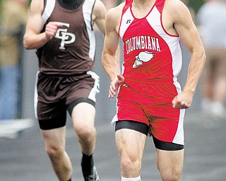 Columbiana's Nick Melone ran away with three district titles at the Division III district track meet May 21 at Springfield High School. He placed first in the 100- and 200-meter dashes and helped the Clippers claim the 4x200-meter relay title.