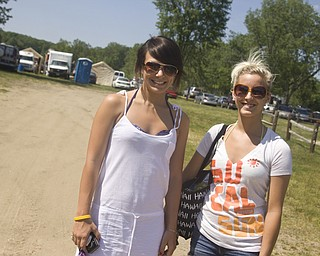 LISA-ANN ISHIHARA | THE VINDICATOR..Heather Poston, 19, and Ashlee Stalzer, 19, both of Streetsboro arrive for their first adventure at the three day Jonesfest at Nelson Ledges Quarry Park.