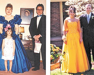 Left, young Andrea Ball is pictured with Lisa (Yeager) Lodwick and Rob Lodwick, who were going to the Hubbard High School prom in 1990. Right, Andrea Ball is shown with her escort for her own prom at Hubbard High in 2001.