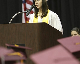 ROBERT K. YOSAY | THE VINDICATOR..Kaitlin Turk, president  Student Council speaks to the graduation class at Boardman High Schools Graduation 2010 held at the school -30