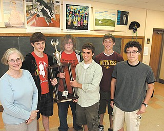 The South Range High School Varsity Academic Challenge Team won the national championship in the small-schools division of the National Academic Quiz Tournament during Memorial Day weekend. Adviser Bonnie  Molnar, from left, poses with team members Brian Bishop, John Sheffler, Jarret Greene, Nathan Lotze and Kyle Dickey.