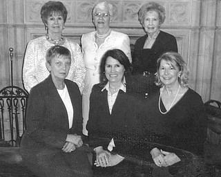 Installed by Youngstown Area Federation of Women's Clubs at an annual scholarship and community awards luncheon were above, from left seated, Rusti Puromaki, first vice president; Debra Kostelic, president; and Barbara Higgins, second vice president, and standing, Catherine Campana, recording secretary; Sally Schlabaugh, treasurer; and Marilyn Morelli, corresponding secretary.