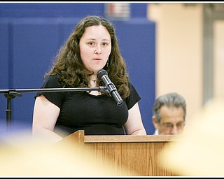 ROBERT K. YOSAY | THE VINDICATOR..Speaker and the class of  2000 is Dr Charlene Arendas former graduate and now a vet in Howland tells the class where her diploma has taken her so far at Lowellville High School gym - the glass of 2010 - graduated Sunday afternoon-30