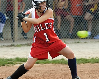 Aubrey Hale of Niles and Trumbull County takes a swing during the high school all-star softball game at Mauthe Park in Struthers on Wednesday.
