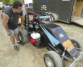 ROBERT K. YOSAY | THE VINDICATOR..Last minute instructions as Brian Borawiec  Sr talks to his so Brian Borawiec Jr before he enters his Jr. Sprint Car in for time trials -30-