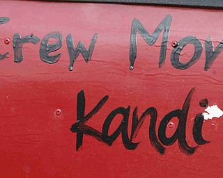 "ROBERT K. YOSAY | THE VINDICATOR..A salute to the CREW MOM  ""Kandi""  hand painted on the side of a racer -30-"