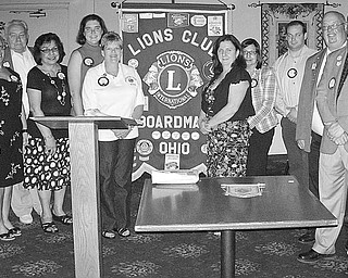 The Saxon Club in Youngstown was the setting on June 10 for a ceremony at which Boardman Lions Club installed a slate of officers for the 2010-2011 season. Accepting the responsibility of various offices were, from left, Laura Hancock, membership; Bud Jenkins, Fran Sarkis and Jaclyn Rausch, directors; Betsy Koch, secretary; Mary Shobel, president King Lion; Barb Acerra, treasurer; Bill Nichols, first vice president; Jeff Snyder, governor-elect; and Bill Rausch, tail twister. Also seated but not pictured was Terry Shears, second vice president.