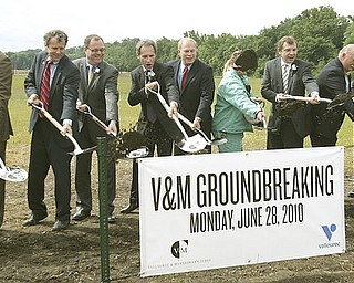ROBERT K. YOSAY | THE VINDICATOR..a cast of sevear hundred break gound.V & M and its parent company, Vallourec, will host dignitaries from federal, state, county and local government, along with partners in the business community and more than 100 employees for a groundbreaking ceremony to officially begin construction of the companyÕs new mill..The planned mill Ñ a state-of-the-art, hot-rolling, seamless pipe mill Ñ represents a $650 million investment for Vallourec and will lead to the creation of 750 construction and permanent mill jobs. -30--