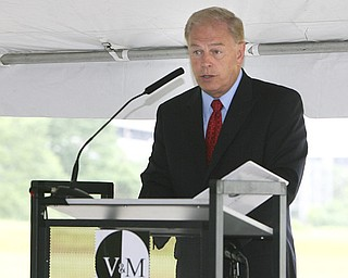 ROBERT K. YOSAY | THE VINDICATOR..Govenor Strickland  - speaks to the crowd.V & M and its parent company, Vallourec, will host dignitaries from federal, state, county and local government, along with partners in the business community and more than 100 employees for a groundbreaking ceremony to officially begin construction of the companyÕs new mill..The planned mill Ñ a state-of-the-art, hot-rolling, seamless pipe mill Ñ represents a $650 million investment for Vallourec and will lead to the creation of 750 construction and permanent mill jobs. -30--
