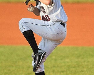 Mahoning Valley Scrapper, Owen Dew, throws a pitch during the fourth inning at Eastwood Field on Thursday evening. Dew had a no-hitter after finishing the 6th inning.