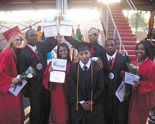 This group of Red Devils are recent graduates of Campbell Memorial High School. They are: Erica Norris, Chris Copeland, Jasmine Polk, Angelo Astorga, Dario Bivens, Reginald Ware and Tasha Harris.