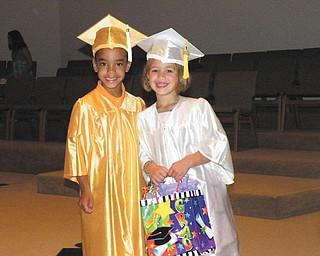 Zenin Walkowiec, 6, of Boardman and Maria Slaton, 5, of Austintown graduated from For Kids Sake Preschool.