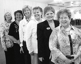 Prepared to perform the duties of various offices during the 2010-2011 term are, from left, Lynn Romeo, Nancy Brunner, Denise Altman, Patti Cearfoss, Sue E. Urmson and Christine L. Bidwell, the newly installed members of Yo-Mah-O Chapter executive board.