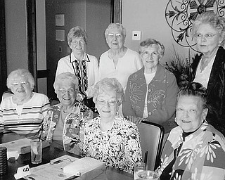 A lot in common: Years of providing TLC (tender loving care) for patients have become pleasant memories for local members of the 1950 graduating class of Youngstown Hospital School of Nursing, who meet for lunch twice each year. Sharing those memories as they celebrate their 60th anniversary at Drake's Landing are, seated, from left, Ann McCarthy, Agnes Verch, Doris Cavanaugh and Eleanor Gebhardt, and standing, Marge Prozy, Phyllis Grisa, Angie Elmo and Joyce Bobash.