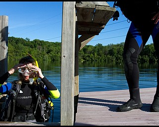 Geoffrey Hauschild.Aimee Campbell, of Union Twp., at B&B Diving in Hillsville PA.