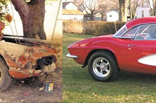 We received a number of before-and-after pictures, but we have to say, these two were the best. They were sent to us by Tom and Mary Selway of Leetonia of their 1961 Corvette, which they purchased in 1973.