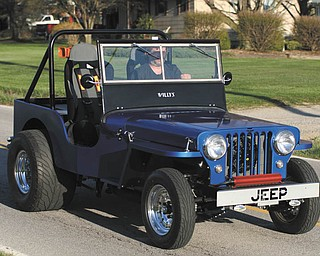 The stats on this Jeep owned by Don Stevens of New Middletown: blue 1948 CJ2A Jeep Pro Street 2WD, 350cid Chevy, Turbo 400, Dana 44/4 Link, Spool. The hand-built body and frame were a combined effort of Clarence, Don and John Stevens.