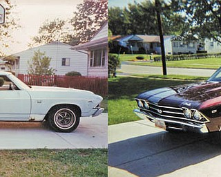 This is a before-and-after picture of the 1969 Chevelle that Bobby Dedo and his dad, Bob, bought when Bobby was 15, and they drove it out of the garage completely finished when he was 21. They live in Poland.