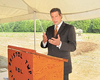 U.S. Rep. Tim Ryan, of Niles, D-17th, speaks at the groundbreaking ceremony for the $2.235 million Bristol Fire Station. Behind him is the site where the station will be built along state Route 88 in Bristolville. The ceremony was Thursday.