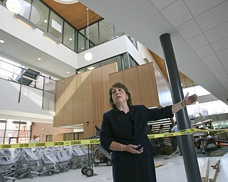 ROBERT K. YOSAY | THE VINDICATOR..Betty Jo Licata, Ph.D. Dean- shows off the new atrium - .The new Williamson College of Business Administration will provide a professional business education environment, a resource for the regional business community and a link between YSU and the cityÕs downtown.. ....-30-
