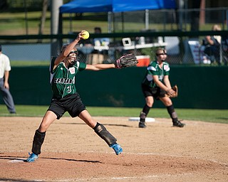 Claire Testa winds up the fastball during the 2010 World Series of Little League Softball, Central vs. Latin America. Central went on to win the game, 7-4.