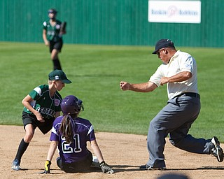 Kat Wilson hustles to get the runner out at 2nd during the 2010 World Series of Little League Softball in Portland, Ore., August 15th, 2010. This game the team from Poland, Ohio face the team from Burbank Calif., Central was defeated by West, 0-1.
