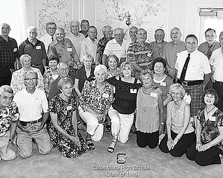 Columbiana Class Reunion: Members of Columbiana High School Class of 1960 renewed friendships and reminisced about school days while attending their 50th class reunion on July 23 at Salem Golf Club. Attending were, front from left, Gary Ritchie, Arley Bartholow, Marilyn Schmidt Carlson, Leanne Gurney O'Neal, Jean Burbick Sauerwein, Marjery Benner Armentrout, Leona Saxton Diener and Lucille Keylor Meyer; second row, teacher Ruth Gloss , Sandra McBane Hill, Dennis Burkey, Mary Crouse Stockdale, Joyce Beiber Brooke and Rebecca Reese McMurray; and back row, teacher Richard Berryman, James Romeo, Larry Reed, Thomas Haney, Bernard Naughton, David Liston, Larry Snyder, Dennis Hutton, Alan Douglas, Raymond Puscher, James Gano, Philip Swope, Gary Sloan, Joseph MacBenn, Leland Mackall and Thomas Logan. The following day there was a brunch at the Dutch Village Inn, a scramble at Valley Golf Course and a tour of the former Columbiana High School building.
