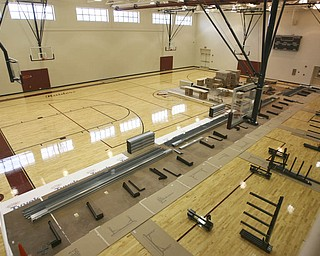 ROBERT K. YOSAY | THE VINDICATOR..The Middle School gym is finished except for the rolll out bleachers  atSouth Range finally finished itÕs new K-12 building. Superintendent Dennis J. Dunham will show us around the new building....-30-..