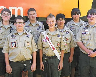Members of Hubbard Boy Scout Troop 100 who attended the National Jamboree at Fort A.P. Hill in Virginia are, from left, Mark Feigert, Max James, Adam Learn, Justin Oaks, David Ross, Clayton Burrows and Tracy Rusk III. Scoutmaster is David Oaks.