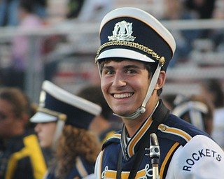 Matt Russo gets ready to perform with the Lowellville Marching Band during halftime of the Lowellville/ Youngstown Christian game Friday night. - KELLY TKACH