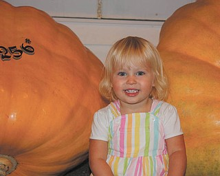Payton Zwingler of Columbiana, daughter of Chad and Alyson Zwingler, enjoys the pumpkin display. The photo was taken in 2009.