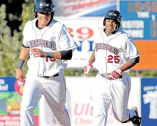 10 Giovanny Urshela and 25 Jesus Aguilar after Aguilar hit grand slam.