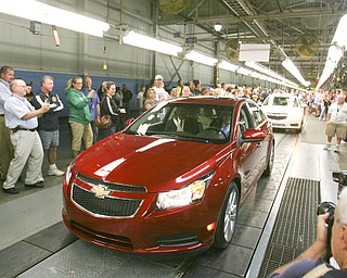ROBERT K. YOSAY | THE VINDICATOR..CRIZE's come off the land as GM Lordstown  Kicked Off the Chevy Cruze today at the Lordstown Plant  with the President of GM - Tim Ryan - The Boardman Band and a slew of elected officials -..-30-..