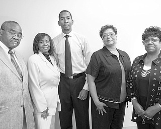 Anticipating a new century of national service as they prepare for the Freedom Fund Banquet on Oct. 8 are members of the NAACP Youngstown Branch, from left, George Freeman Jr., political liaison; Beverly Fortune, chairwoman; Dr. Derrick Jackson, public relations; Waneta Byrd, committee co-chairwoman; and Sandra Dean, publicity.
