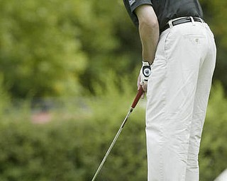 William D. Lewis| The Vindicator James LaPolla Jr. lines up  a putt at Greatest Golf Tourney Saturday.