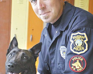 Boardman patrolman Brian Cionni, who will be Eros' handler, is attending a six-week training session at Shallow Creek Kennels Inc. Cionni also was the handler for retired police dog Robby.