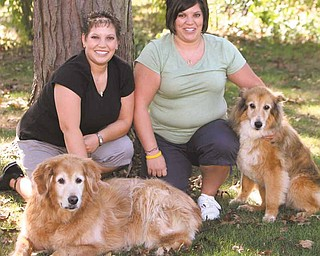 ROBERT K. YOSAY | THE VINDICATOR..Stephanie and  Tiffany ( sister ) with their dogs Bailey And Courtney..  Stephanie has had HodgkinÕs Lymphoma for the past five years. SheÕs in need of her third bone marrow transplant but needs to find a donor...-30-..