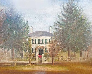 This painting by Emma Hine hangs in Rudzik's entryway and portrays her historic home, the Kirtland-Hine house, on South Main Street in Poland. The home was built by George Kirtland — son of Turhand Kirtland, one of Poland's founders — and later was occupied by his niece Emma Kirtland, who married Samuel Hine.