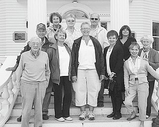 Garden guides go on tour: Garden guides from Mill Creek Park's Fellows Riverside Gardens toured Holden Arboretum and Mooreland Estate in northern Ohio recently. Guides take an annual tour of other gardens, hoping to enrich their knowledge about plants and garden guiding. Guides include, from left, Bob Jones, Bob Schulick, Joanne DuVall, Lynn Zocolo, Roz Gadd, Linda Mohn, and in the back row, Bernie Zets, Alice Lang, John Schinker, Karen Bata, and Ritchie Jones.