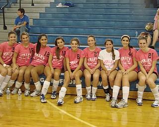 Poland  Varsity Volleyball Team: Left to right: Mckenzie Mulligan, Amanda Molasky, Jenna Sliwinski, Kyrstal Kalafut, Rachel Kalafut, Kayla Smith, Reana Hertz, Abby Jones, Allison Bernard