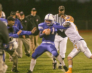 ROBERT K. YOSAY | THE VINDICATOR..Blue Devils #21 Ed Newhouse stops the clock as he is pushed out of bounds by  Trey Griffith#2 of Southern Local during second Quarter action - Western Reserve Blue Devils  vs Southern Local Indians at Western Reserve Stadium ..-30-..